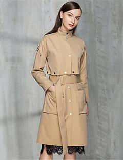 여성 솔리드 스탠드 긴 소매 트렌치 코트,단순한 캐쥬얼/데일리 긴 면 가을