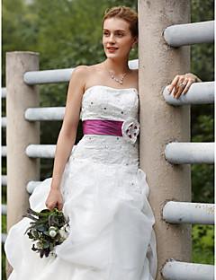 Haine Bal Fără Bretele Mătura / Trenă Organza Tafta Rochie de mireasă cu Rochie Pick Up Eșarfe/ Panglici de LAN TING BRIDE®