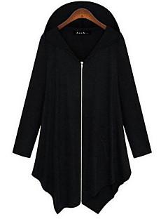 Damen Solide Einfach Lässig/Alltäglich Jacke,Mit Kapuze Herbst Lange Ärmel Standard Baumwolle