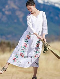 Kadın Günlük/Sade Salaş Çan Elbise Solid Nakışlı,3/4 Kol Yuvarlak Yaka Midi Pamuklu Yaz Normal Bel Mikro-Esnek Orta