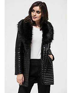 V-hals Langærmet Medium Dame Sort Ensfarvet Vinter Vintage / Punk & Gotisk Plusstørrelser / I-byen-tøj Pelsfrakke,Imiteret pels / PU