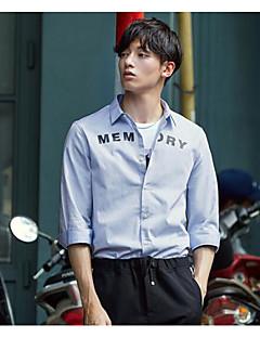 メンズ カジュアル/普段着 シャツ,シンプル シャツカラー レタード コットン 長袖