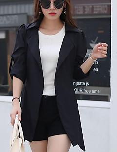여성 솔리드 숄 라펠 긴 소매 트렌치 코트,단순한 데이트 캐쥬얼/데일리 짧은 면 봄 가을