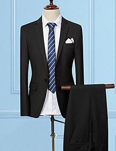 Herren Solide Einfach Arbeit Anzug,Gekerbtes Revers Sommer Lange Ärmel Standard Baumwolle Polyester