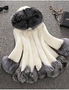 レディース カジュアル/普段着 秋 冬 ファーコート,キュート フード付き ソリッド レギュラー ラクーン 長袖