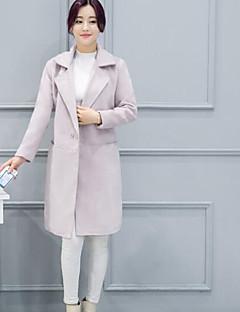 レディース カジュアル/普段着 春 秋 コート,シンプル スクエアネック ソリッド レギュラー コットン 長袖
