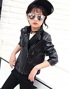 Genç Kız PU Solid Bahar Sonbahar Uzun Kol Ceket ve Kaban