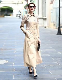 Kadın Polyester Uzun Kol Gömlek Yaka Kış Solid Desen sofistike Günlük/Sade Uzun-Kadın Kaban