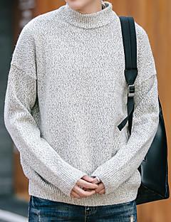 בינוני (מדיום) סתיו חורף כותנה שרוול ארוך צווארון עגול אחיד יום יומי\קז'ואל עבודה סוודר רגיל גברים מיקרו-אלסטי