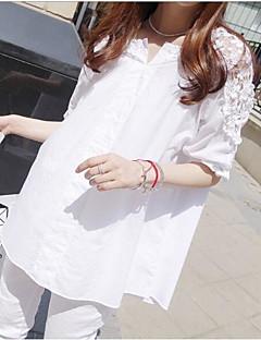여성 솔리드 V 넥 반 소매 셔츠,심플 귀여운 데이트 면 여름