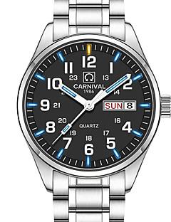 Carnival Homens Relógio Elegante Relógio de Moda Relógio de Pulso Quartzo Calendário Impermeável Luminoso Aço Inoxidável BandaPendente