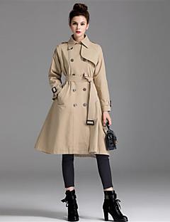 Kadın Pamuklu Polyester Uzun Kol Şal Yaka Sonbahar Solid Basit Günlük/Sade Uzun-Kadın Kaban