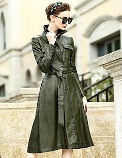 Feminino Jaquetas de Couro Casual Trabalho Moda de Rua Outono Inverno,Sólido Padrão Pele de Carneito Colarinho de Camisa Manga Longa