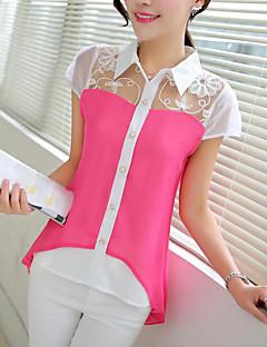 Kortærmet Krave Damer Farveblok Simpel Afslappet/Hverdag Skjorte,Polyester