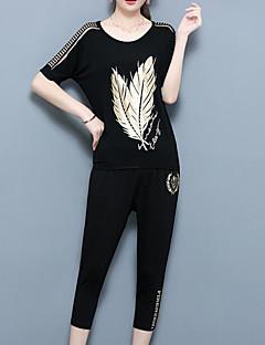 Dames Eenvoudig Vintage Chinoiserie Zomer T-Shirt Pantalon Kostuums,Uitgaan Casual/Dagelijks Bomen / Bladeren Ronde hals Korte mouw