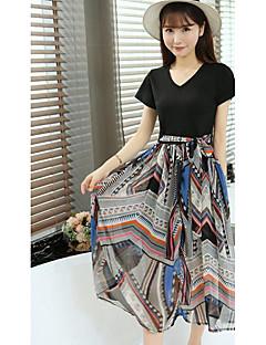 Feminino Japonesa/Curta Saia Conjuntos Para Noite Bandagem Simples Verão,Sólido Floral Decote Redondo Manga Curta Micro-Elástica