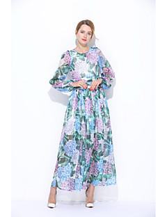 Kadın Dışarı Çıkma Günlük/Sade Sade Sevimli Salaş Kılıf Elbise Çiçekli,Uzun Kollu Yuvarlak Yaka Maksi İpek Yaz Normal Bel Mikro-Esnek