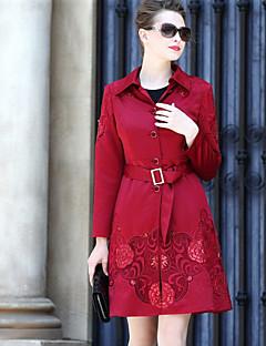 여성 솔리드 프린트 셔츠 카라 긴 소매 코트,정교한 디테일 캐쥬얼/데일리 보통 면 폴리에스테르 가을 겨울