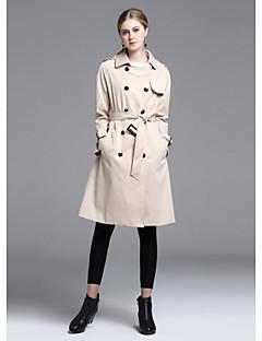 여성 솔리드 라운드 넥 긴 소매 트렌치 코트,스트리트 쉬크 데이트 긴 폴리에스테르 겨울