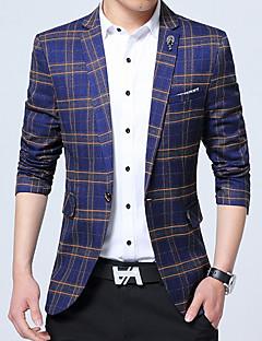 Herren Verziert Einfach Arbeit Übergröße Blazer,V-Ausschnitt Herbst Winter Lange Ärmel Standard Baumwolle