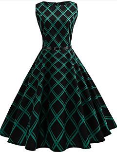 Dámské Vintage Dovolená Běžné/Denní Pouzdro Swing Šaty Pepito,Bez rukávů Kulatý Délka ke kolenům Bavlna Polyester Léto High Rise Lehce