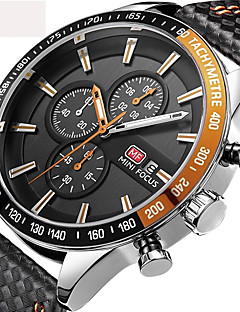 Herrn Kinder Sportuhr Militäruhr Armbanduhr Japanisch Quartz Kalender Chronograph Wasserdicht Tachometer Stopuhr Echtes Leder Band