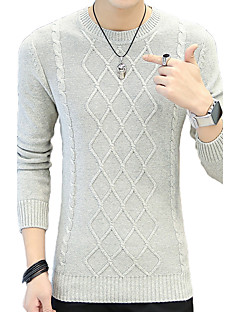 Normal Pullover Fritid/hverdag Plusstørrelser Herre,Stripet Rund hals Langermet Bomull Høst Vinter Medium Mikroelastisk