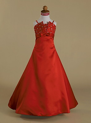 Lanting Bride A-line / Princess Floor-length Flower Girl Dress - Satin Sleeveless Spaghetti Straps with Beading / Bow(s) / Ruffles