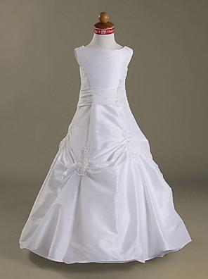 Corte en A / Princesa Hasta el Suelo Vestido de Niña Florista - Tafetán Sin Mangas Joya con Apliques / Botones / Falda Plegada