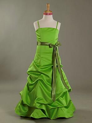 Floor-length Satin Junior Bridesmaid Dress A-line / Princess Spaghetti Straps Natural with Bow(s) / Pick Up Skirt / Sash / Ribbon