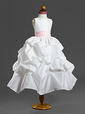 כלה לנטינג נשף באורך הקרסול שמלה לנערת הפרחים - טפטה ללא שרוולים מחשוף עמוק עם כיווצים למעלה / קפלים / סרט