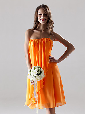 Lanting Bride® באורך  הברך שיפון שמלה לשושבינה - מעטפת \ עמוד סטרפלס פלאס סייז (מידה גדולה) / פטיט עם תד נשפך / שסע קדמי