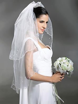 Hochzeitsschleier Zweischichtig Ellbogenlange Schleier / Schleier für kurzes Haar Wellenkante / Rand mit Perlen 37,4 in (95cm) Tüll Weiß