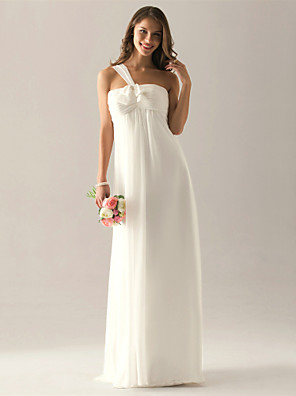 Lanting Bride® Földig érő Sifon Koszorúslány ruha - Szűk szabású Félvállas Molett / Filigrán val vel Csokor / Ráncolt / Rakott