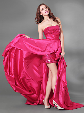 TS Couture® Cocktail Party / Formal Evening / Military Ball Dress - Sparkle & Shine / High Low Plus Size / Petite A-line Strapless Court Train Taffeta