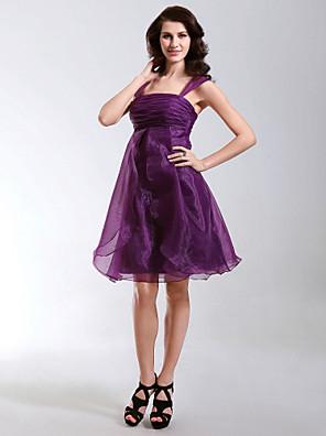 מסיבת קוקטייל / חגים שמלה - קצר גזרת A / נסיכה מרובע / רצועות באורך  הברך אורגנזה עם קפלים / סלסולים