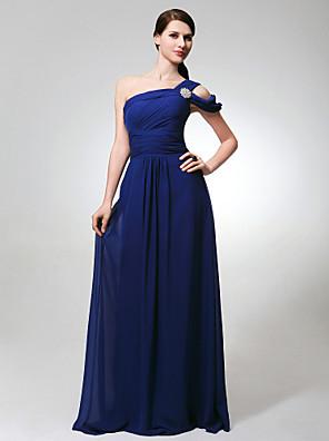 Lanting Bride® Na zem Šifón Šaty pro družičky - A-Linie Jedno rameno Větší velikosti / Malé s Boční řasení / Sklady / Křišťálová brož