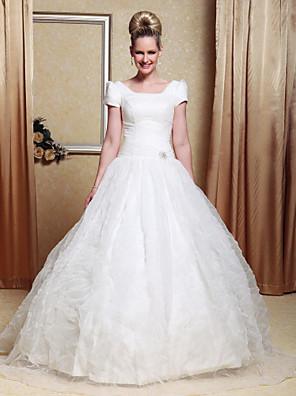Lanting Bride® Plesové šaty Nadměrné velikosti / Drobná Svatební šaty - Klasické & nadčasové / Šaty na hostinu Na zem KopečekOrganza /