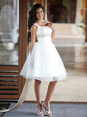 lanting mariée princesse petite / plus mariage tailles robe mi-longue cuillère satin / tulle