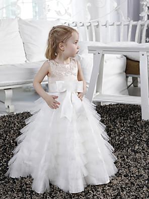 Lanting Bride A-Linie / Princess Na zem Šaty pro květinovou družičku - Satén / Tyl Bez rukávů Klenot sAplikace / Korálky / Mašle / Šerpa