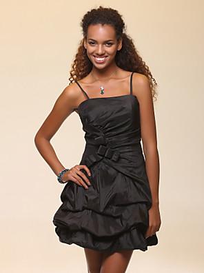 カクテルパーティー / 16歳誕生日 / ウェディングパーティー / 祝日 ドレス - リトルブラックドレス Aライン / ボールガウン キャミソール ショート/ミニ タフタ とともに リボン / ピックアップスカート / サイドドレープ