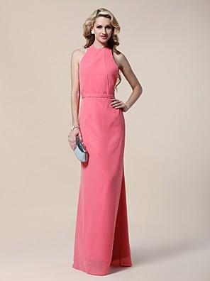 ts couture® formell kveld / militær ball kjole - åpen rygg pluss størrelsen / tynn skjede / kolonne grime fotsid chiffon med
