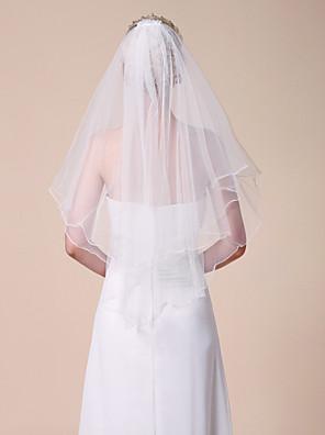 Hochzeitsschleier Zweischichtig Ellbogenlange Schleier / Schleier für kurzes Haar Gebündelter Rand 31,5 in (80cm) Tüll Weiß Weiß