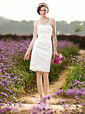 plášť / sloupec bez ramínek kolena satén svatební šaty