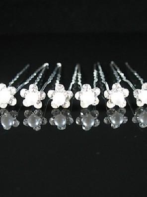 נשים / נערת פרחים סגסוגת / דמוי פנינה כיסוי ראש-חתונה / אירוע מיוחד / קז'ואל / חוץ סיכת שיער 6 חלקים