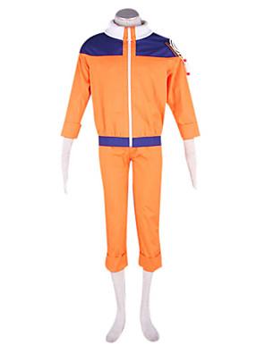 קיבל השראה מ Naruto Naruto Uzumaki אנימה תחפושות קוספליי חליפות קוספליי טלאים כתום שרוולים ארוכים מעיל / מכנסיים