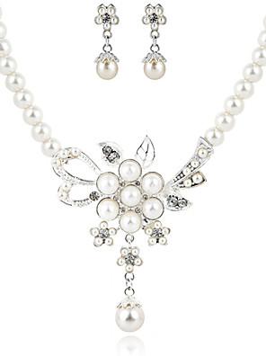 szép tiszta kristály és bizsu gyöngy esküvői ékszer szett, beleértve a nyaklánc és fülbevaló