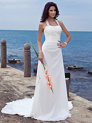 Lanting Bride Sheath/Column Petite / Plus Sizes Wedding Dress-Court Train Halter Chiffon