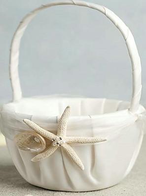 strand tema søstjerne design elfenben satin blomst pige kurven