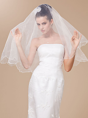 Véus de Noiva Uma Camada Véu Ponta dos Dedos Borda Recortada / Corte Pérola 47,24 cm (120cm) Tule BrancoLinha-A, Vestido de Baile,